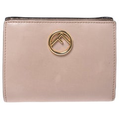 Fendi Beige Leather Bifold F Is Compact Wallet