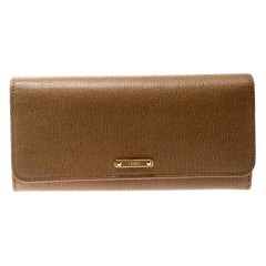 Fendi Beige Leather Elite Continental Wallet