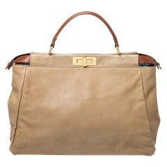 Fendi Beige Leather Large Peekaboo Top Handle Bag