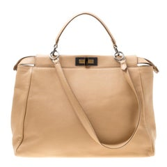 Fendi Beige Leather Large Peekaboo Top Handle Bag