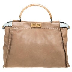 Fendi Beige Leather Large Selleria Peekaboo Top Handle Bag