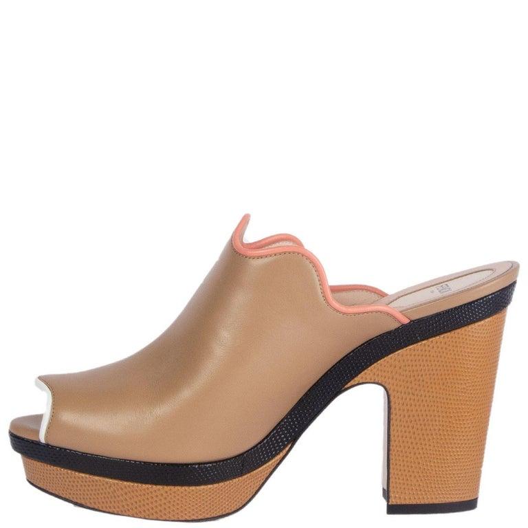Beige FENDI beige leather Platform Mule Sandals Shoes 41 For Sale