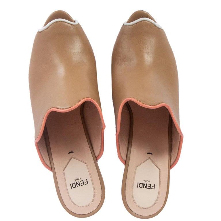 Women's FENDI beige leather Platform Mule Sandals Shoes 41 For Sale