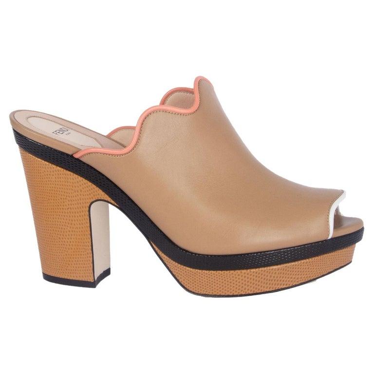 FENDI beige leather Platform Mule Sandals Shoes 41 For Sale