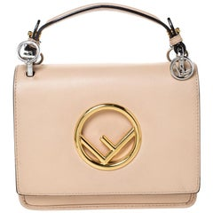 Fendi Beige Leather Small Kan I F Shoulder Bag