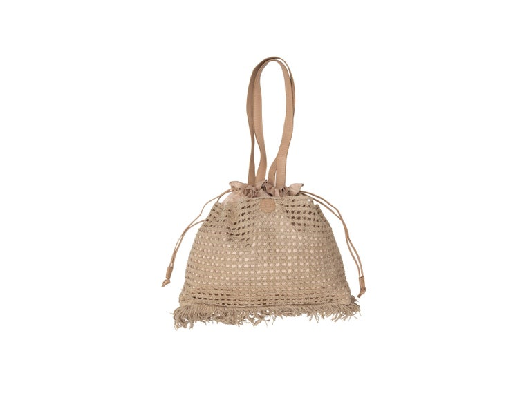 Women's  Fendi Beige Metallic Crochet Drawstring Bag For Sale