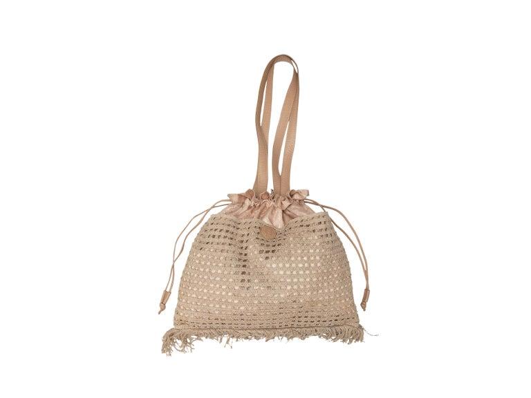 Fendi Beige Metallic Crochet Drawstring Bag For Sale 1