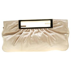 Fendi Beige Metallic Leather Cutout Handle Clutch