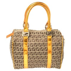 Fendi Beige/Metallic Orange Zucchino Patent Leather Bauletto Boston Bag