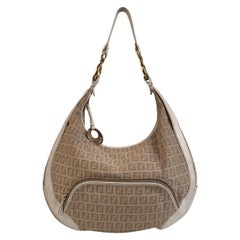 Fendi Beige Monogram Zucchino Canvas Hobo Shoulder Bag