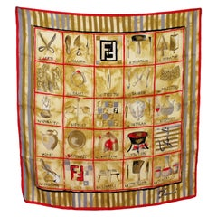 Fendi Beige Red Silk Large Theme Craft Scarf 1990s