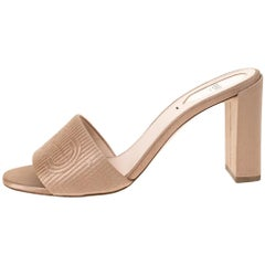 Fendi Beige Satin Logo Embroidered Block Heel Slides Size 38.5