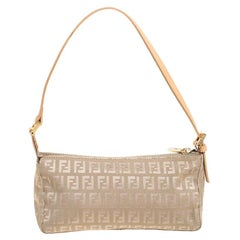 Fendi Beige Zucchino Canvas Small Baguette