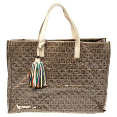 Fendi Beige Zucchino Quilted Canvas and PVC Tassel Tote
