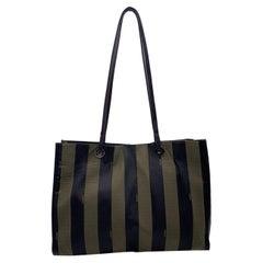Fendi Black and Brown Striped Pequin Canvas Tote Shoulder Bag