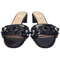 Fendi Black and Silver Studded Sandal