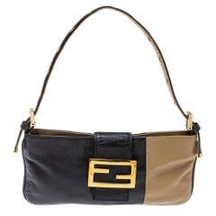 Fendi Black/Beige Leather FF Flap Baguette Bag