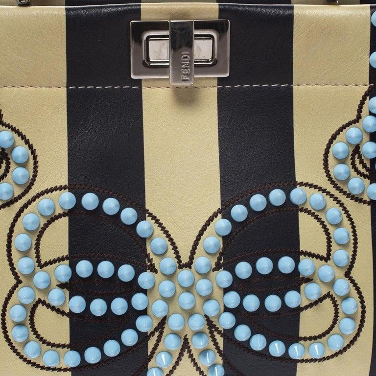 Fendi Black/Beige Leather Studded Ribbons Peekaboo Top Handle Bag For Sale 7