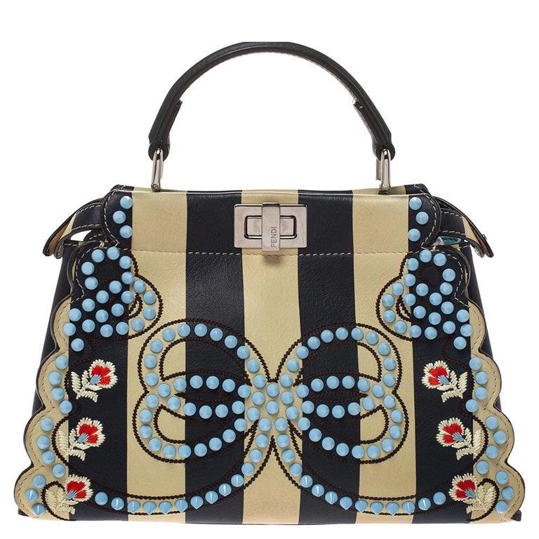 Fendi Black/Beige Leather Studded Ribbons Peekaboo Top Handle Bag In Good Condition For Sale In Dubai, Al Qouz 2
