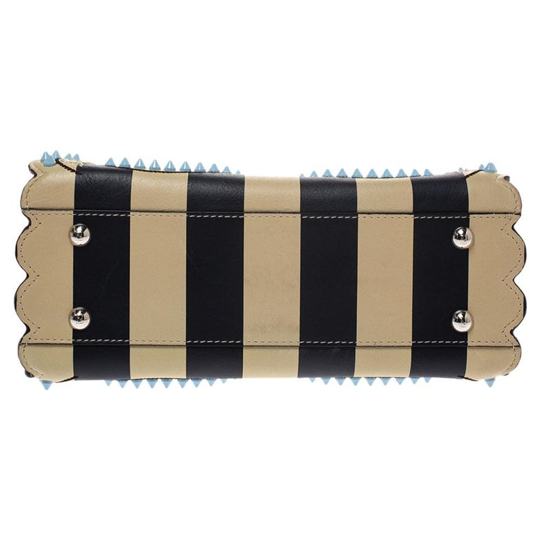Fendi Black/Beige Leather Studded Ribbons Peekaboo Top Handle Bag For Sale 1