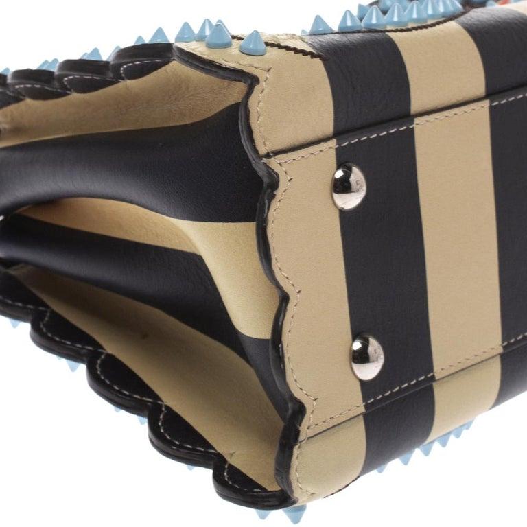 Fendi Black/Beige Leather Studded Ribbons Peekaboo Top Handle Bag For Sale 2