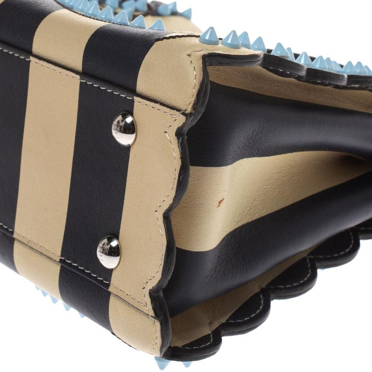 Fendi Black/Beige Leather Studded Ribbons Peekaboo Top Handle Bag For Sale 3