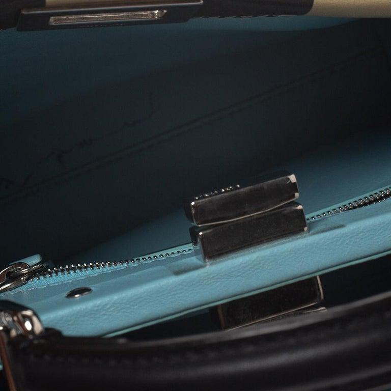 Fendi Black/Beige Leather Studded Ribbons Peekaboo Top Handle Bag For Sale 4