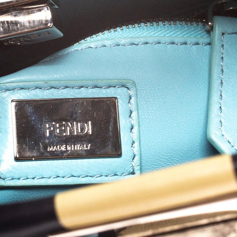 Fendi Black/Beige Leather Studded Ribbons Peekaboo Top Handle Bag For Sale 5