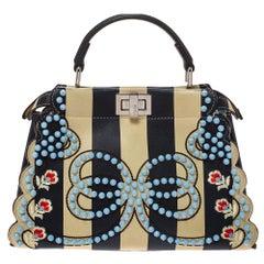 Fendi Black/Beige Leather Studded Ribbons Peekaboo Top Handle Bag