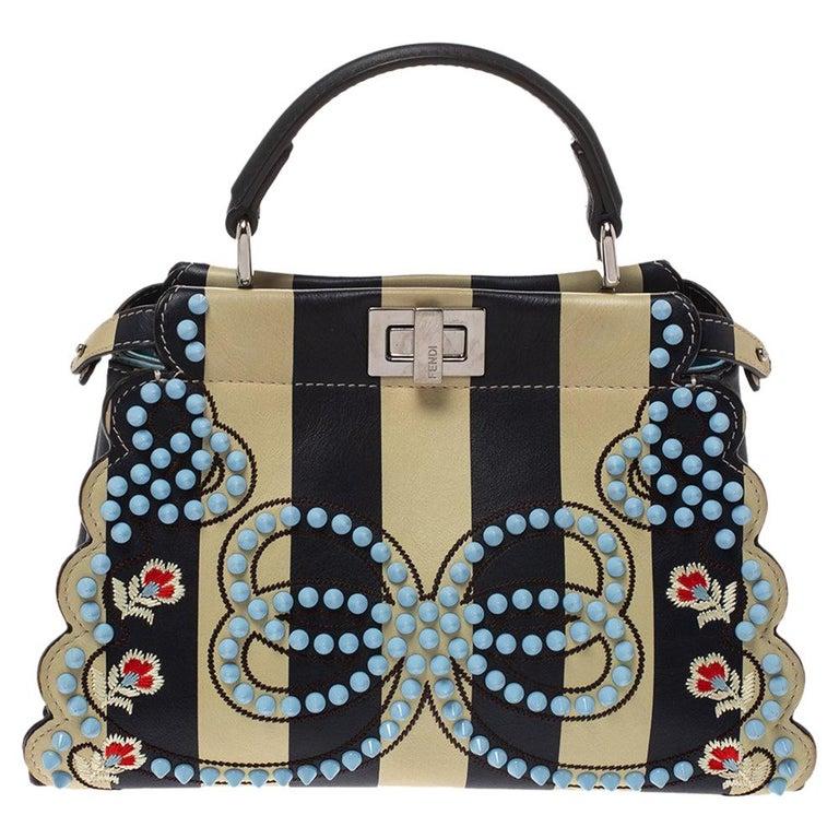 Fendi Black/Beige Leather Studded Ribbons Peekaboo Top Handle Bag For Sale