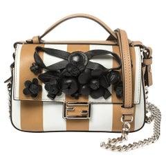 Fendi Black/Beige Striped Leather Double Micro Baguette Bag