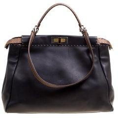 Fendi Black/Bronze Seleria Leather Large Peekaboo Top Handle Bag