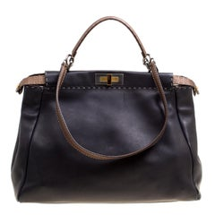 Fendi Black/Bronze Seleria Leather Large Peekaboo Top Handle Bag