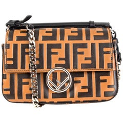 FENDI black & brown leather ZUCCA LOGO MICRO BAGUETTE Shoulder Bag