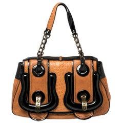 Fendi Black/Brown Patent and Leather B Shoulder Bag