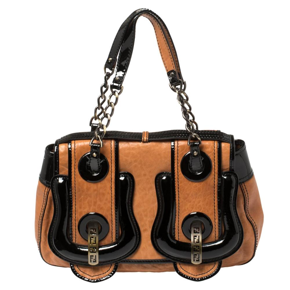 Fendi Black/Brown Patent Leather and Leather B Shoulder Bag
