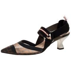 Fendi Black/Brown Zucca Mesh Colibri Slingback Pumps Size 38.5