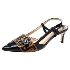 Fendi Black/Brown Zucca Pearland Slingback Pumps Size 37