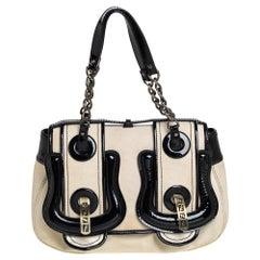 Fendi Black Canvas and Patent Leather B Shoulder Bag