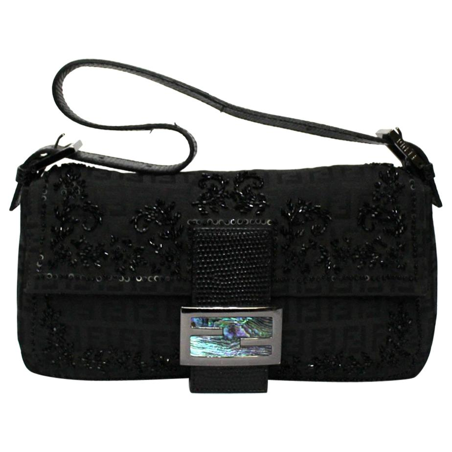 Fendi Black Canvas Baguette Bag