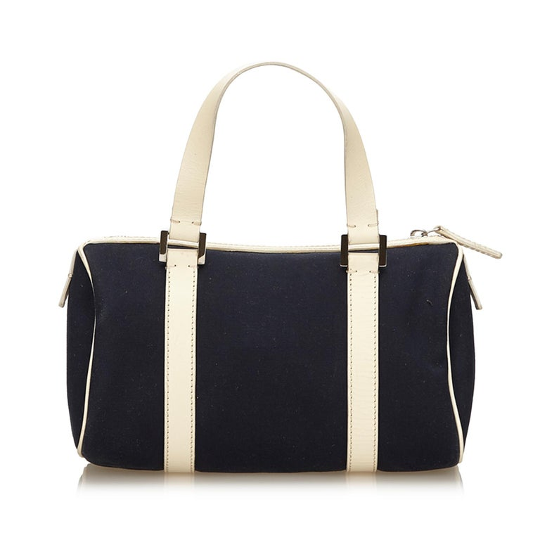 Fendi Black Canvas Boston Bag In Good Condition For Sale In Orlando, FL