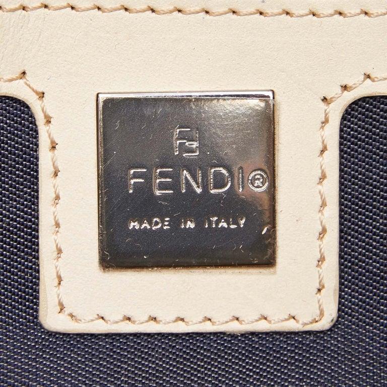Fendi Black Canvas Boston Bag For Sale 2