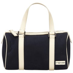 Fendi Black Canvas Boston Bag