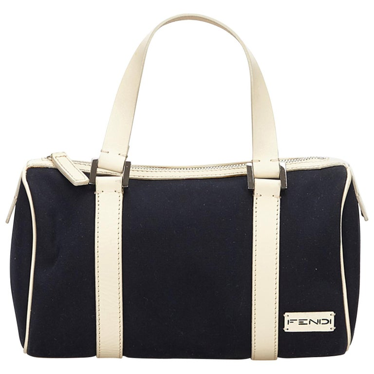 Fendi Black Canvas Boston Bag For Sale