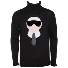 Fendi Black Cashmere Intarsia Knit Karlito Turtleneck Sweater M
