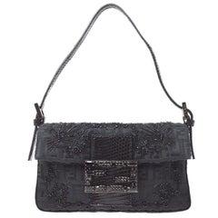 Fendi Black Cloth Bead Embroidery Small Baguette Top Handle Shoulder Flap Bag