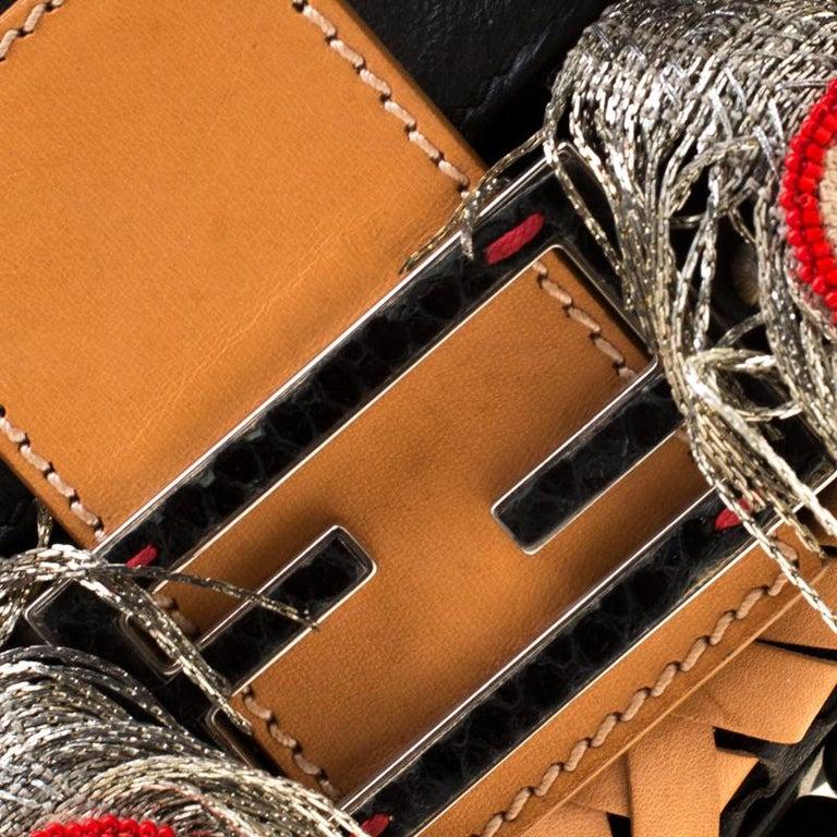 Fendi Black Embellished Micro Baguette Shoulder Bag 7
