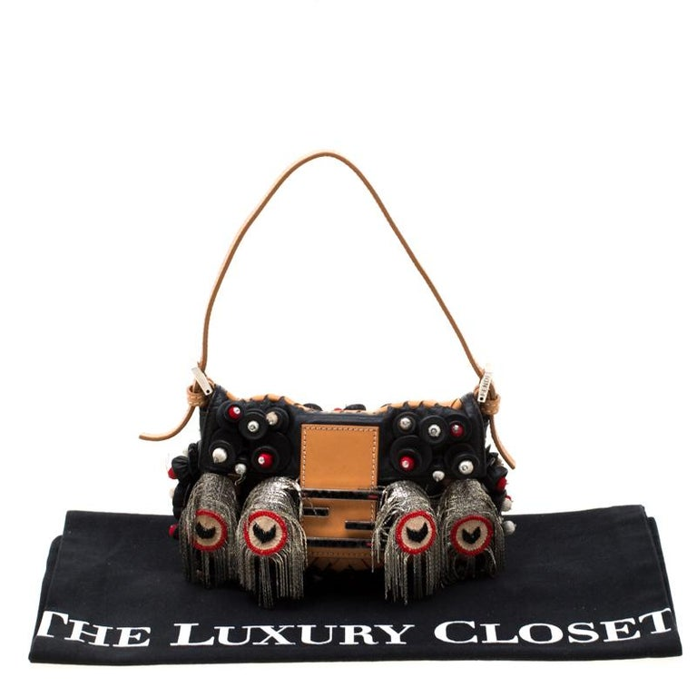 Fendi Black Embellished Micro Baguette Shoulder Bag 8