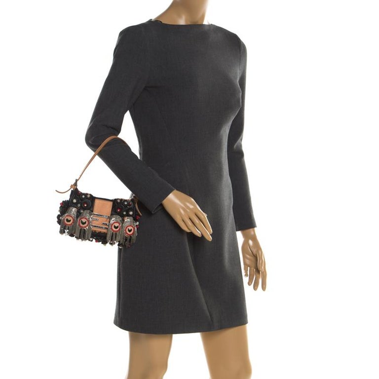 Fendi Black Embellished Micro Baguette Shoulder Bag In Fair Condition In Dubai, Al Qouz 2