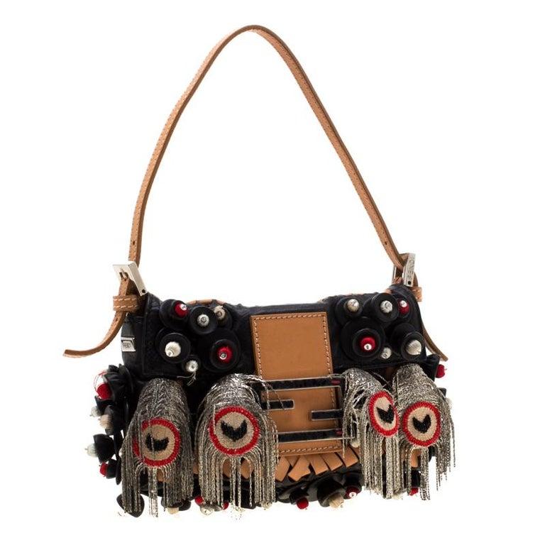 Women's Fendi Black Embellished Micro Baguette Shoulder Bag